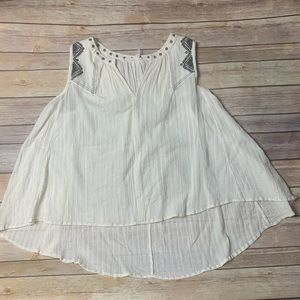 Anthropologie White Western Style Tank Top
